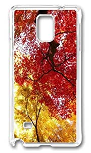 MOKSHOP Adorable autumn trees Hard Case Protective Shell Cell Phone Cover For Samsung Galaxy Note 4 - PC Transparent