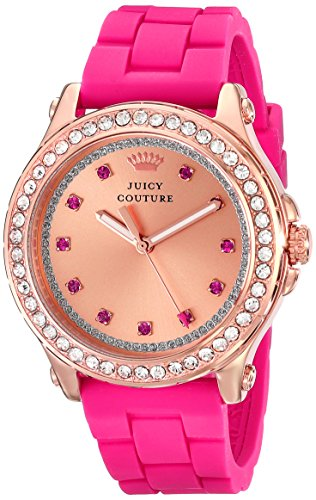 Juicy Couture Women's 1901190 Pedigree Rose Gold-Tone Watch with Silicone Strap ()