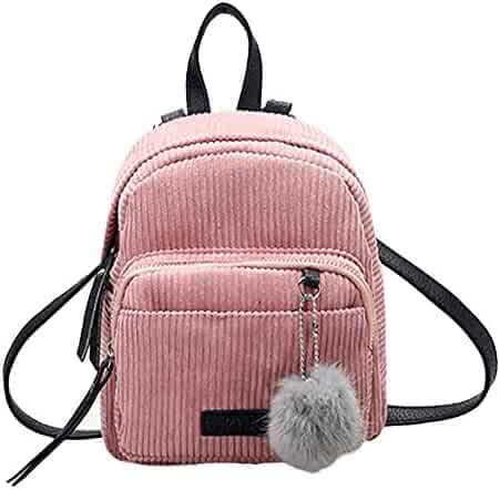 Feitengtd Travel Shoulder Bag Womens Corduroy Backpacks Schoolbags with  Little Soft Ball Design 5ae8be105d