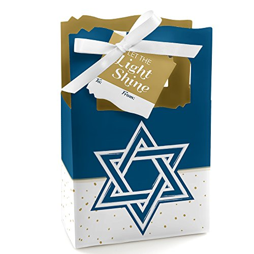 Big Dot of Happiness Happy Hanukkah - Chanukah Party Gift Bag - 12 Count
