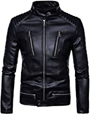AOWOFS Punk Menswear Motorcycle Zipper Leather Motorcycle Jacket