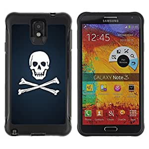 Be-Star único patrón Impacto Shock - Absorción y Anti-Arañazos Funda Carcasa Case Bumper Para SAMSUNG Galaxy Note 3 III / N9000 / N9005 ( Skull & Bones Pirate Flag )