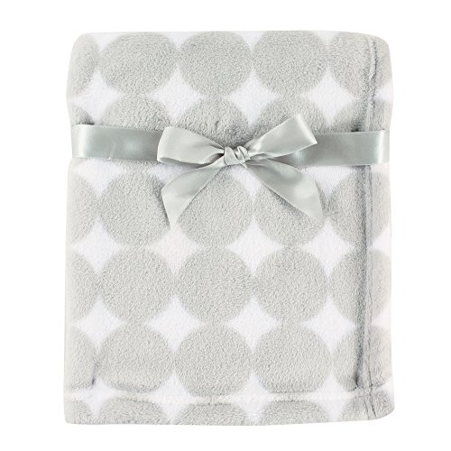 Luvable Friends Print Coral Fleece Blanket, Gray Circles