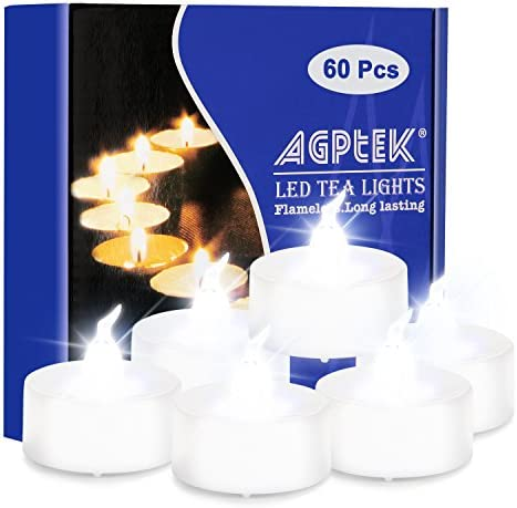 AGPTEK 60 PCS Flameless Tea Lights, Battery Operated No Flicker Steady LED Candles for Wedding Party Festival Decoration Occasions – Cool White
