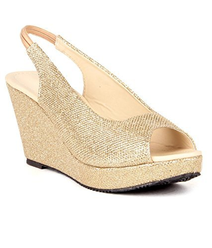 c801ae69f3bda7 Feel it Rakhi Gift for Sister - Best Wedge Heels Golden Sandals (36)