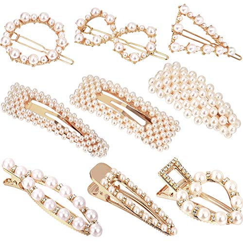 (9 Pieces Artificial Pearl Hair Pins Hair Barrettes Decorative Bridal Hair Clips Handmade Hair Accessories for Women (Style Set 1))