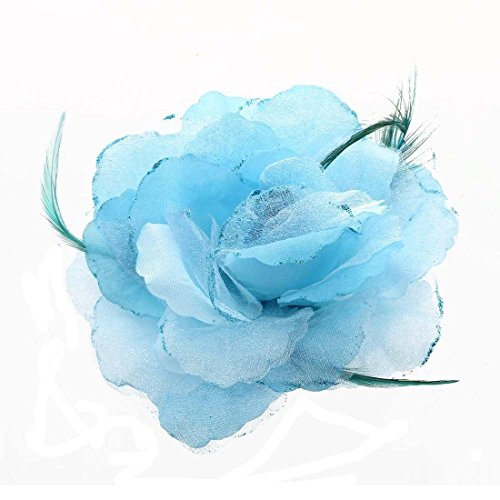 (Bride Head Decoration Feather Organza Roses Blue Hair Band Scrunchy Hair P9W8)