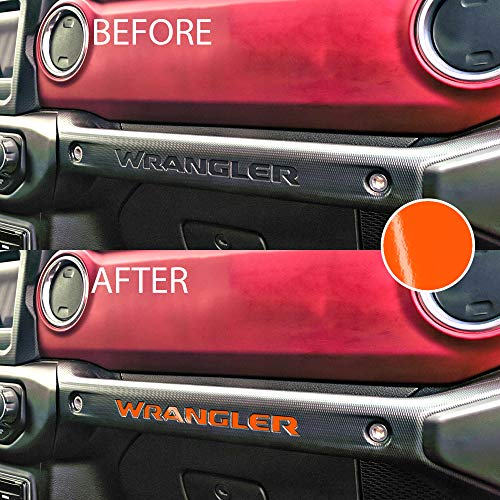 Bogar Tech Designs – Letter Insert Overlay Vinyl Decal Sticker Letters for Dashboard Glove Box Compatible with Jeep JL Wrangler 2018, Gloss Orange
