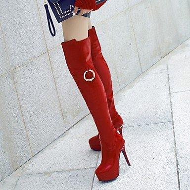 Heart&M Mujer Botas Botas de Equitación Botas de Moda Botas de Moto Cuero Patentado Otoño Invierno Fiesta y Noche Cremallera Tacón StilettoBlanco red