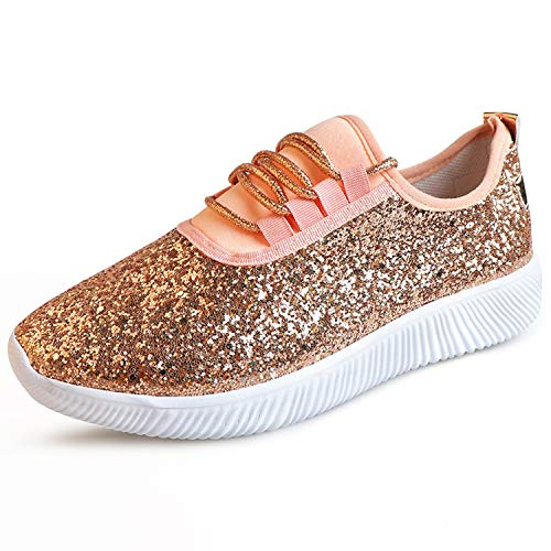 Glad You Came Women Sneakers Bling Ladies Shoes Summer Glitter Trainers Women White Sneakers Sparkly Casual Shoes Basket Femme Zapatos Mujer,Champagne,6 (Best Suspension Trainers 2019)