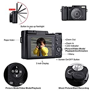 SEREE HD Digital Camera Camcorder Full HD 1080p 24.0 Megapixels 4x Digital Zoom 3 Inch LCD Screen Flashlight by SEREE