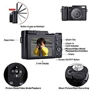 SEREE HD Digital Camera Camcorder Full HD 1080p 24.0 Megapixels 4x Digital Zoom 3 Inch LCD Screen Flashlight by SEREE