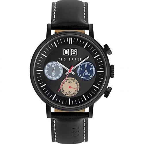 Ted Baker Mens Black Leather Strap Black Dial Chrono TE10023471 -