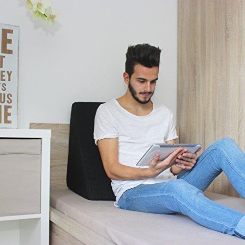 Keilkissen, Rückenstütze für Bett, Couch, Fernsehen und Tablet Relaxkissen, Lesekissen, Größe 60cm x 50cm Höhe 30cm schwarz