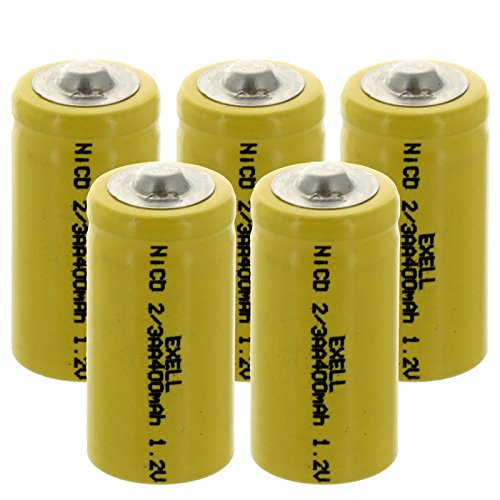 (5-PACK) Exell 2/3AA 1.2V 400mAh NiCD Button Top Rechargeable Batteries for high power static applications (Telecoms
