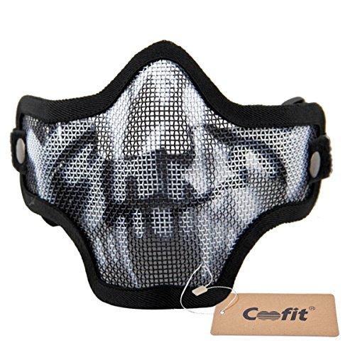Mesh Half Face Skull Mask Airsoft Mask