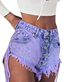 LD Womens High Rise Lace Up Cut Off Ripped Distressed Denim Shorts Jeans Light Purple L