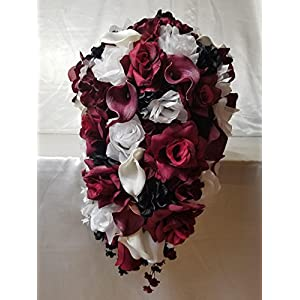 Burgundy Black White Rose Calla Lily Cascading Bridal Wedding Bouquet & Boutonniere 103
