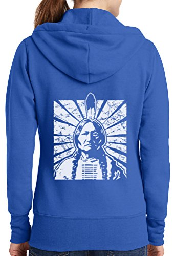 Womens Indian Chief Full Zip Hoodie, Royal, 4X
