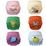 smart sisi New Anti Leakage Baby Toddler Cute 4 Layers Potty Training Pants Reusable (90,set of 6 pieces)