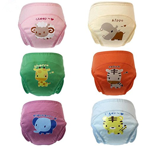 New Anti leakage Baby Toddler Cute 4 Layers Potty Training Pants Reusable (110,Set Of 6 Pieces)