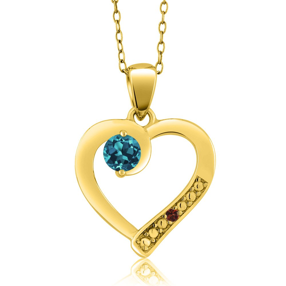 Gem Stone King 0.32 Ct Round London Blue Topaz Red Garnet 18K Yellow Gold Plated Silver Pendant