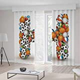 iPrint Letter H Decor Curtains,Letter H Stacked from Gaming Balls Alphabet Sports Theme Competition Activity Decorative,Window Drapes 2 Panel Set, Living Room Bedroom,104 W 95 L,Multicolor