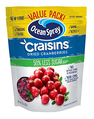 Ocean Spray Craisins Dried Cranberries, Reduced Sugar, 20 Ounce Value Pack (Sweetened Dried Cranberries)