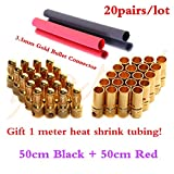 20pairs 3.5mm RC Gold Bullet Connector Battery ESC Motor Banana Plug with Heat Shrink Tubing