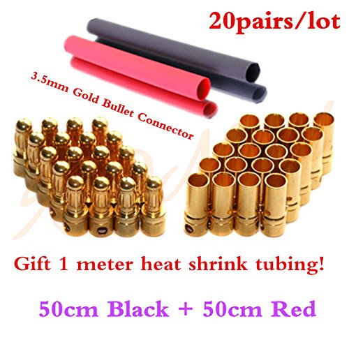 - 20pairs 3.5mm RC Gold Bullet Connector Battery ESC Motor Banana Plug with Heat Shrink Tubing