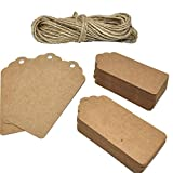 Renashed 200 Pcs Kraft Paper Gift Tags Rectangle Craft Hang Tags with 66 Feet Natural Jute Twine (KraftPaper-200)