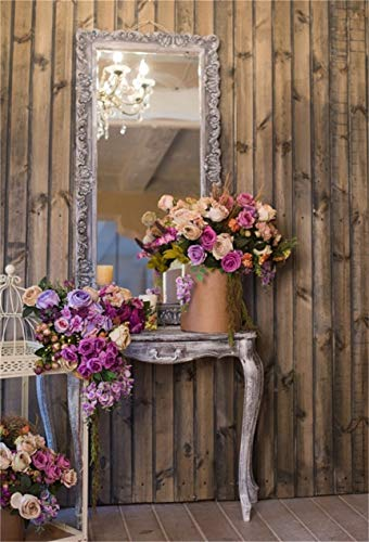 CSFOTO 6x8ft Background Blossom Flower Before The Mirror Photography Backdrop Dressing Table Floral Decor Rustic Wood House Interior Luxury Chandelier Home Photo Studio Props Vinyl Wallpaper