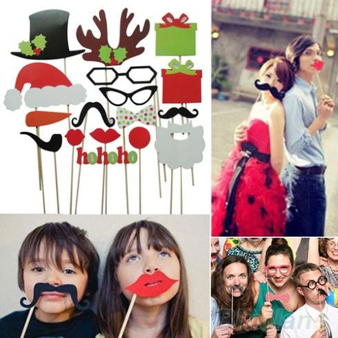 AmazingOS® Christmas Decoration! Free Shipping 17Pcs DIY Photo Booth Props Mustache Lip Hat Antler Gift Stick Christmas Party
