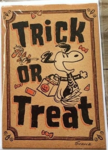 Hallmark Peanuts Snoopy 6 Halloween Cards - Trick or Treat with Stickers]()