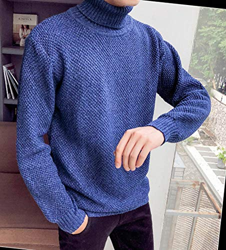 Mengyu Jersey Alto Pulóver Hombre Cuello De Azul Suéter Punto Invierno Otoño qr5qzC