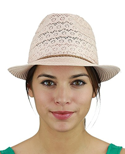 Pink Lace Hat - NYFASHION101 Braided Trim Spring Summer Cotton Lace Vented Fedora Hat, Rose