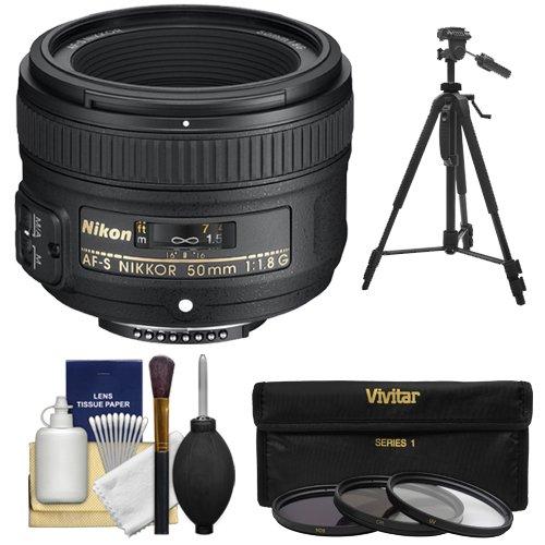 Nikon 50mm f/1.8 G AF-S Nikkor Lens with 3 (UV/CPL/ND8) Filter Set + Tripod + Accessory Kit for Digital SLR Cameras