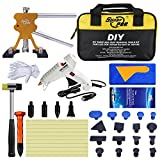 Fly5D Car Auto Body Paintless Dent Repair Remover Tool Kit Set for Hail Damage and Door Ding Removal Bridge Dent Puller Lifter Kits Hot Melt Glue Gun with Rubber Hammer