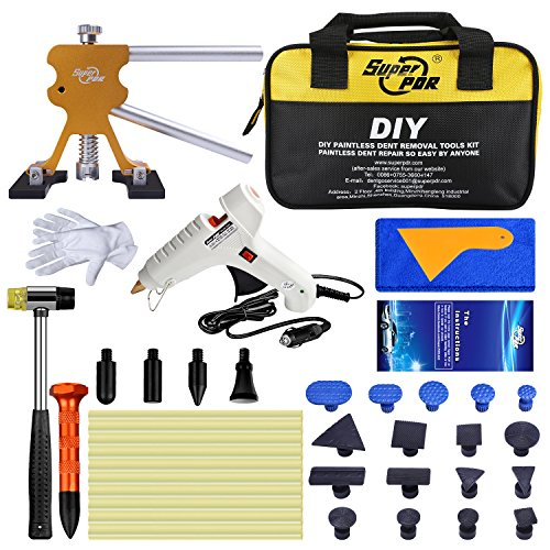 Fly5D Car Auto Body Paintless Dent Repair Remover Tool Kit Set for Hail Damage and Door Ding Removal Bridge Dent Puller Lifter Kits Hot Melt Glue Gun with Rubber Hammer by Fly5D (Image #8)