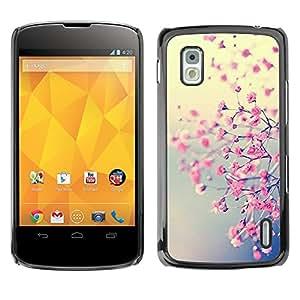 For LG Google NEXUS 4 / Mako / E960 Case , Pink Floral Yellow Tree Cherry Blossom - Diseño Patrón Teléfono Caso Cubierta Case Bumper Duro Protección Case Cover Funda