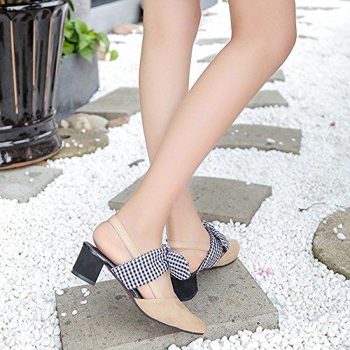 Heeled Femme Satin Style Pointe Sandales Chaussures Épaisse Mode EU39 Nœud Papillon High Sandales Baotou Avec SHOESHAOGE zqgTPw