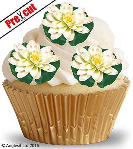 FLAT WATER LILY FLOWERS S1 EDIBLE WAFER / RICE PAPER CUP CAKE TOPPERS BIRTHDAY PARTY WEDDING DECORATION F28 (12)