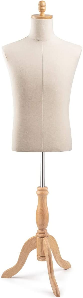 Male Display Dress Form Mannequin in Natural Canvas on Traditional Wood Tripod by TSC-Medium-Natural