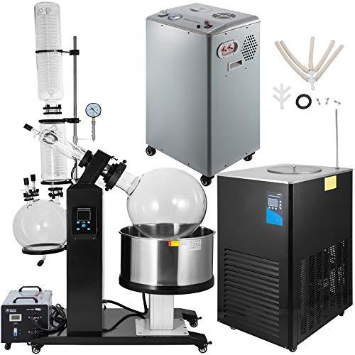 VEVOR 50L Rotary Evaporator Lab Rotary Evaporator Kit with Vacuum Pump & Chiller Water Bath 110V,0.098mpa,0-180°
