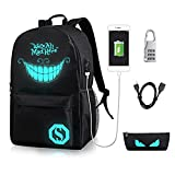 GAOAG College Laptop Backpack with USB Charging Port and Lock Luminous Anime Oxford Nylon Black