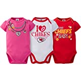 Kansas City Chiefs 3 Pack Short sleeve Bodysuit Infant Baby Toddler Girls- Includes 3 Bodyuit/Onesie