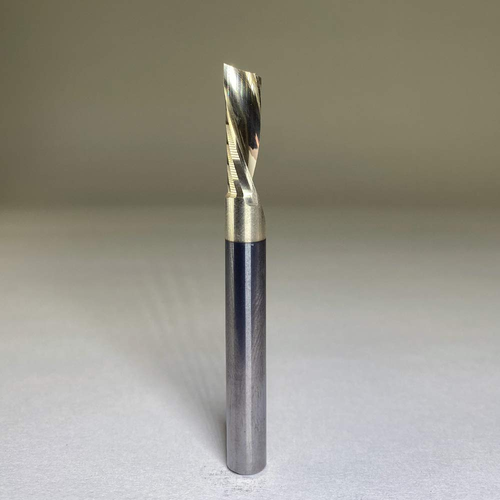 Amana Tool 51775-Z SC Spiral O Single Flute Aluminum Cutting 1//4 D x 7//8 CH x 1//4 SHK x 2-1//2 Inch Long Down-Cut ZrN Coated Router Bit with Mirror Finish
