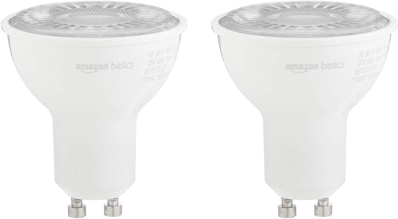 AmazonBasics 50W Equivalent, 3000K White, Dimmable, 10,000 Hour Lifetime, MR16 (GU10 Base) LED Light Bulb   2-Pack