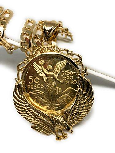 Gold Plated Mexican Coin Centenario Mexicano con Aguila Replica Oro Laminado Con Cadena Figaro 26