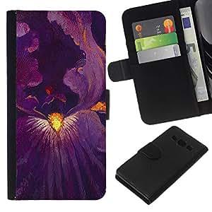 All Phone Most Case / Oferta Especial Cáscara Funda de cuero Monedero Cubierta de proteccion Caso / Wallet Case for Samsung Galaxy A3 // Blossom Purple Inside Painting